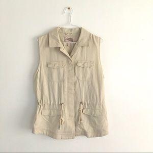 Forever 21 Linen Blend Utility Vest